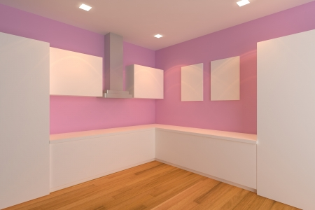empty interior design for kitchen room with pink wall  photo