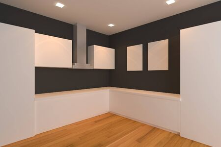 empty interior design for kitchen room with black wall  photo