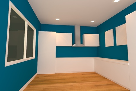 empty inter design for kitchen room with blue wall  Stock Photo - 14125498