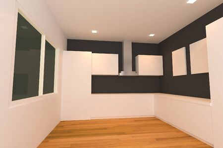 empty interior design for kitchen room with white and black wall  photo