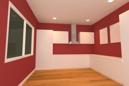 empty interior design for kitchen room with red wall  photo