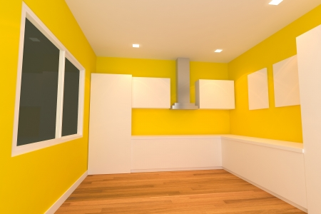 empty interior design for kitchen room with yellow wall  photo