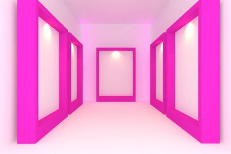 Empty room interior with white canvas on pink frame in the gallery  photo