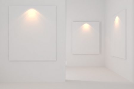 Gallery Interior Empty Room With white wall  photo