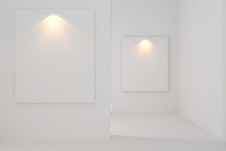 Gallery Inter Empty Room With white wall  Stock Photo - 14125502
