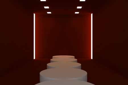 Empty fashion runway red color lighting and black wall