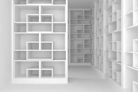 Empty room with shelves  Foto de archivo