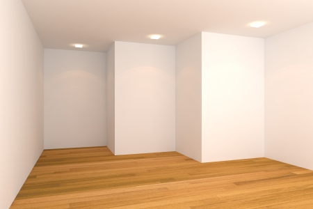 Home inter rendering with empty room color wall and decorated with wooden floors   Stock Photo - 14254637