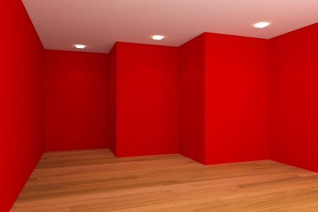 living unit: Home interior rendering with empty room color wall and decorated with wooden floors