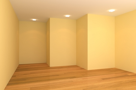 Home interior rendering with empty room color wall and decorated with wooden floors  Stock Photo - 14263874