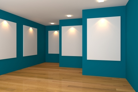 art museum: Empty room interior with white canvas on a blue wall in the gallery  Stock Photo