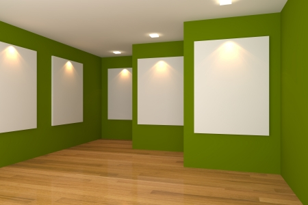 Empty room interior with white canvas on a green wall in the gallery  版權商用圖片