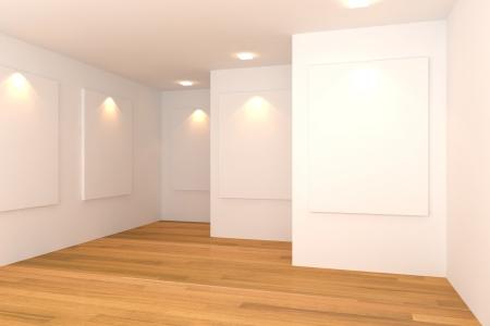 갤러리에서 흰 벽에 흰색 캔버스 빈 방 인테리어