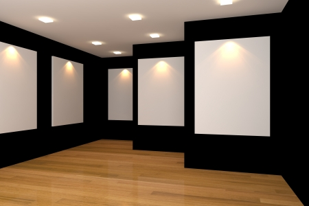 Empty room interior with white canvas on black wall in the gallery
