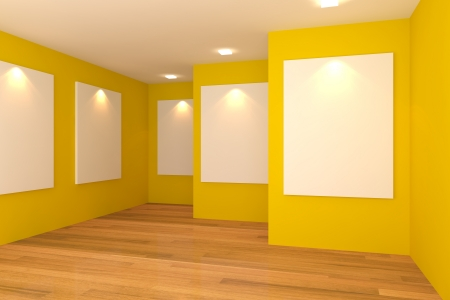 Interior de la habitaci�n vac�a con el lienzo en blanco en la pared amarilla en la galer�a