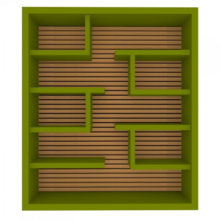Empty green shelves design on white background  photo