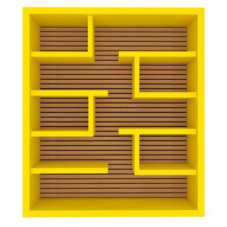 Empty yellow shelves design on white background  photo