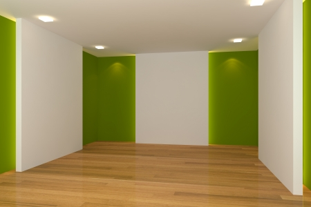 Home interior rendering with empty room color wall and decorated with wooden floors