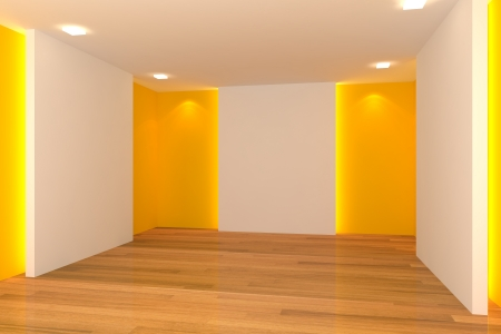 Home interior rendering with empty room color wall and decorated with wooden floors  Stock Photo - 14347541