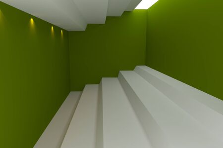 Abstract interior rendering with empty room color wall   photo