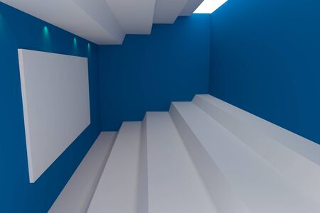 Abstract interior rendering with empty room color blue wall  photo
