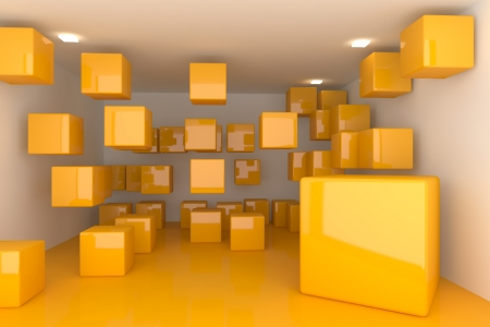 Abstract interior rendering with empty room color box display  photo