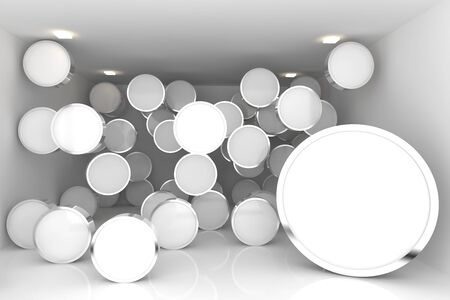 Abstract interior rendering with empty room color rounded box display  photo