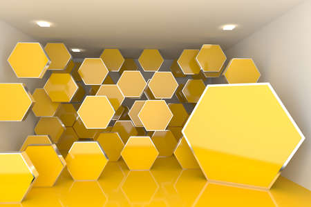 Abstract interior rendering with empty room color hexagon box display  photo