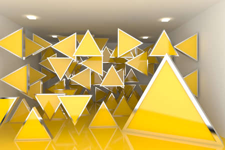 Abstract interior rendering with empty room color triangle box display  Stock Photo - 14502832