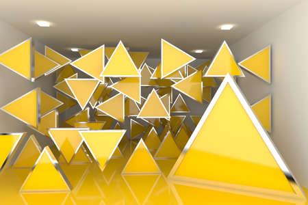 Astratto rendering di interni con display a colori vuota camera cassetta di triangolo
