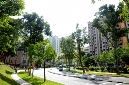 residential street: Housing and transportation thoroughfare of the general public in Singapore