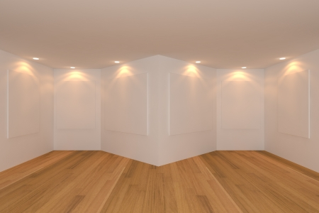 Empty room interior with white canvas on a green wall in the gallery. Stock Photo - 14877243