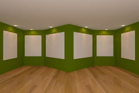 Empty room interior with white canvas on a green wall in the gallery. photo