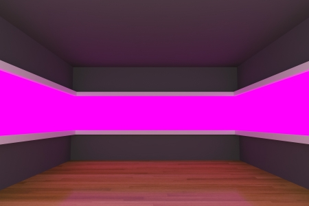 Empty room with light shelves and decorated with wooden floors. photo