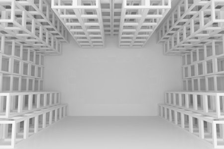 Abstract white square truss wall with empty room photo