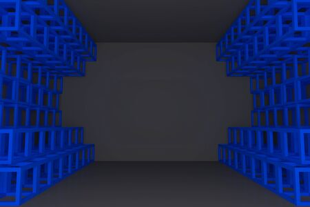 truss: Abstract blue square truss wall with empty room