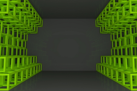 Abstract green square truss wall with empty room
