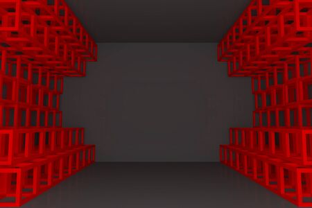 truss: Abstract red square truss wall with empty room