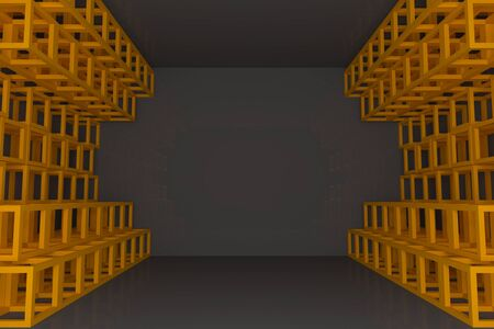 truss: Abstract orange square truss wall with empty room