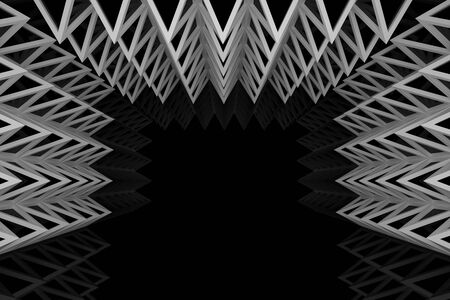 truss: Abstract silver triangle truss wall with empty room