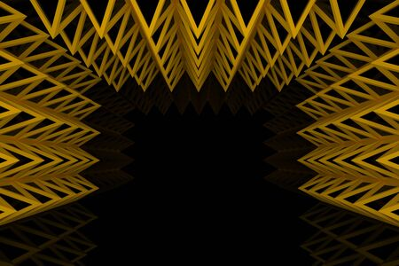 truss: Abstract orange triangle truss wall with empty room