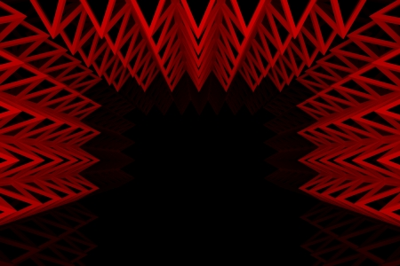 Abstract red triangle truss wall with empty room photo