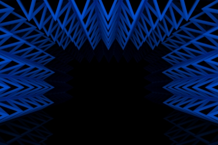 Abstract blue triangle truss wall with empty room photo