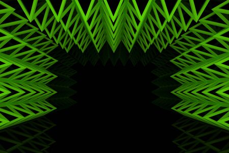 truss: Abstract green triangle truss wall with empty room Stock Photo