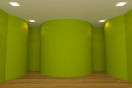 Interior rendering with empty room color curve wall and decorated with wooden floors  photo