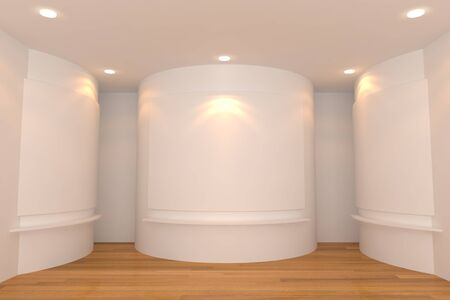 Empty room interior with white canvas on a white wall in the gallery Stock Photo - 15113429