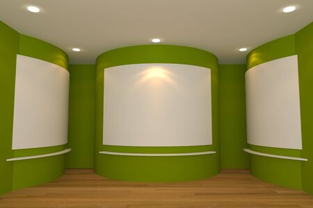 Empty room interior with white canvas on a green wall in the gallery  photo