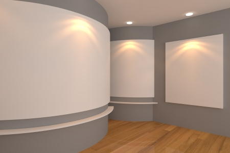 Empty room interior with white canvas on a gray wall in the gallery  版權商用圖片