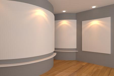 Interior de la habitaci�n vac�a con lienzo en blanco sobre una pared gris en la galer�a
