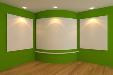 Empty corner room interior with white canvas on a green wall in the gallery  photo